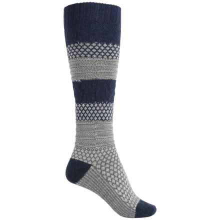 SmartWool Popcorn Cable Knee-High Socks - Merino Wool, Over the Calf (For Women) in Light Gray Heather 2 - Closeouts