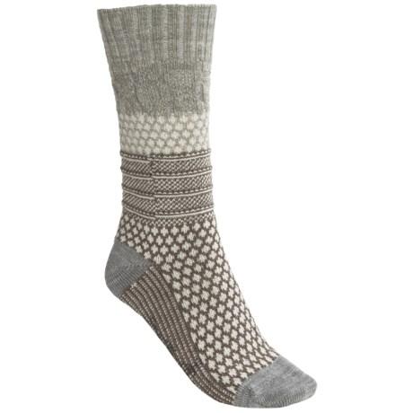 SmartWool Popcorn Cable Socks - Merino Wool, Crew (For Women) in Ash Heather
