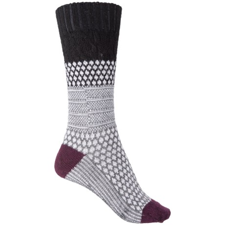 SmartWool Popcorn Cable Socks - Merino Wool, Crew (For Women) in Black