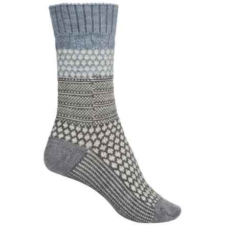 SmartWool Popcorn Cable Socks - Merino Wool, Crew (For Women) in Blue Ice Heather - Closeouts