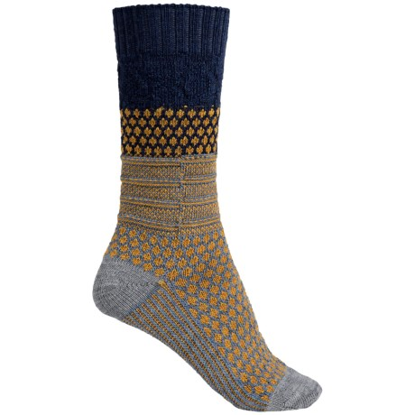 SmartWool Popcorn Cable Socks - Merino Wool, Crew (For Women) in Blue Steel Heather