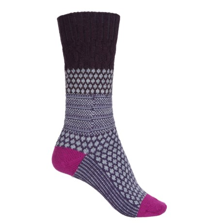 SmartWool Popcorn Cable Socks - Merino Wool, Crew (For Women) in Bordeaux Heather
