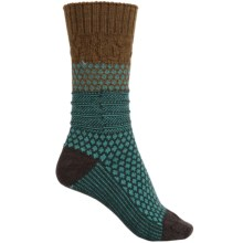SmartWool Popcorn Cable Socks - Merino Wool, Crew (For Women) in Caramel Heather - 2nds