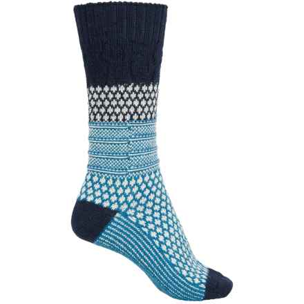 SmartWool Popcorn Cable Socks - Merino Wool, Crew (For Women) in Deep Navy Heather/Ice Floe - 2nds