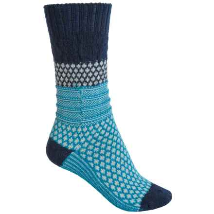 SmartWool Popcorn Cable Socks - Merino Wool, Crew (For Women) in Deep Navy - Closeouts