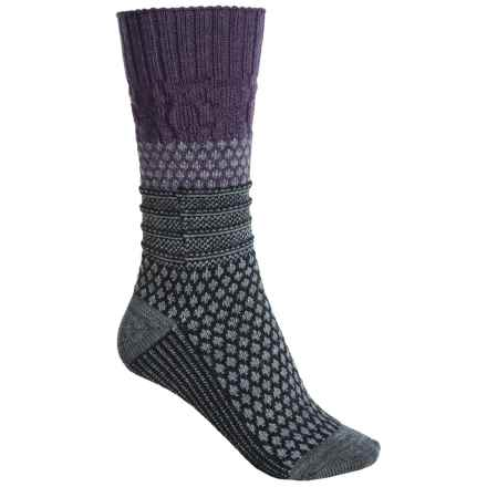SmartWool Popcorn Cable Socks - Merino Wool, Crew (For Women) in Desert Purple Heather - Closeouts