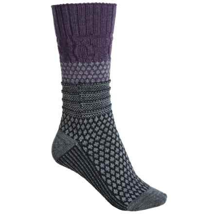 SmartWool Popcorn Cable Socks - Merino Wool, Crew (For Women) in Desert Purple Heather - Closeouts