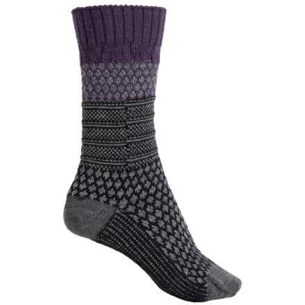 SmartWool Popcorn Cable Socks - Merino Wool, Crew (For Women) in Desert Purple Heather - 2nds