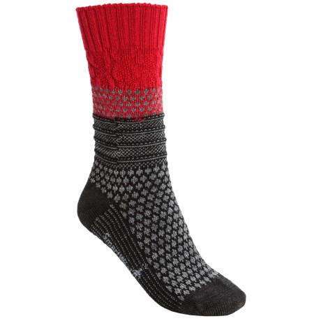 SmartWool Popcorn Cable Socks - Merino Wool (For Women) in Crimson/Charcoal Heather