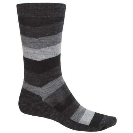 SmartWool Print Socks - Merino Wool, Crew (For Men) in Black Chevron