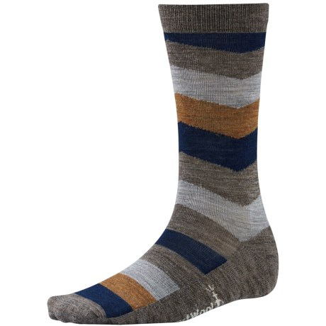 SmartWool Print Socks - Merino Wool, Crew (For Men) in Taupe Chevron