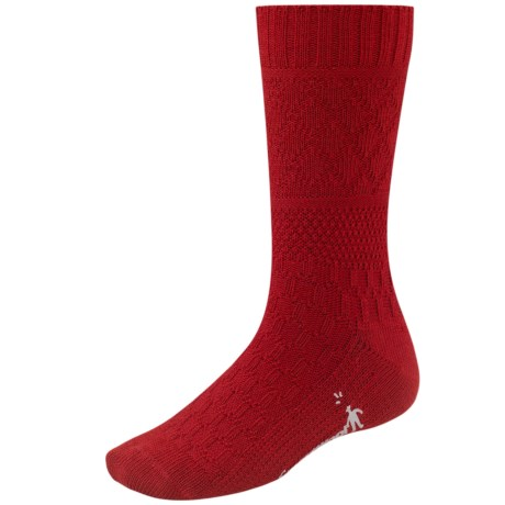 SmartWool Quilted Cable Socks - Merino Wool (For Women) in Crimson