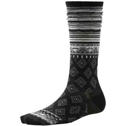 SmartWool Rocking Rhombus Socks - Merino Wool, Mid Calf (For Women) in Black - 2nds