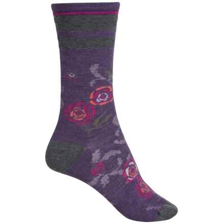 SmartWool Rosey Posey Socks - Merino Wool, Crew (For Women) in Desert Purple Heather - Closeouts
