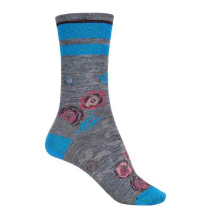 SmartWool Rosey Posey Socks - Merino Wool, Crew (For Women) in Medium Grey Heather - Closeouts