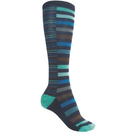 SmartWool Sassy Split Stripe Socks - Merino Wool, Over-the-Calf (For Women) in Aegean Heather