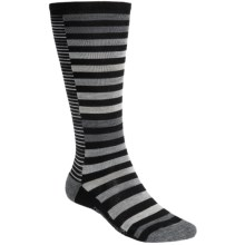 SmartWool Sassy Split Stripe Socks - Merino Wool, Over-the-Calf (For Women) in Black - 2nds