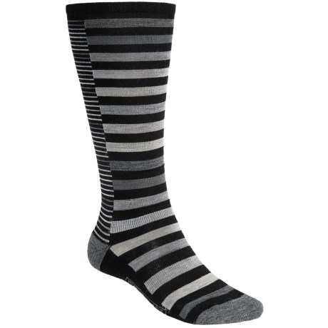 SmartWool Sassy Split Stripe Socks - Merino Wool, Over-the-Calf (For Women) in Black
