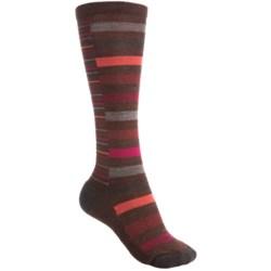SmartWool Sassy Split Stripe Socks - Merino Wool, Over-the-Calf (For Women) in Black