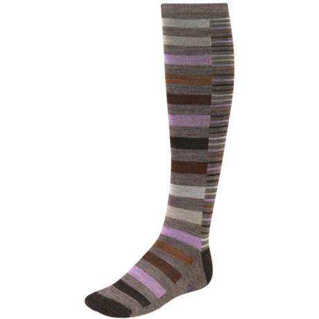 SmartWool Sassy Split Stripe Socks - Merino Wool, Over-the-Calf (For Women) in Taupe Heather