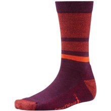 SmartWool Shed Stripe Socks - Merino Wool, Crew (For Men and Women) in Aubergine Heather - Closeouts