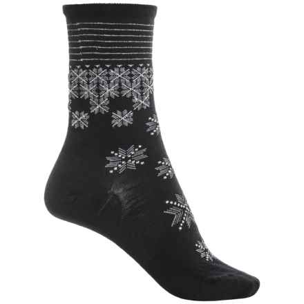 SmartWool Shimmering Snow Socks - Merino Wool, Crew (For Women) in Black - Closeouts