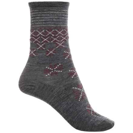 SmartWool Shimmering Snow Socks - Merino Wool, Crew (For Women) in Medium Gray - Closeouts