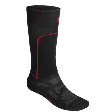 SmartWool Ski Light Socks - Merino Wool, Lightweight, Over-The-Calf (For Men and Women) in Black/Red - Closeouts