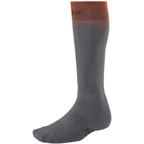 SmartWool Ski Light Socks - Merino Wool, Lightweight, Over-The-Calf (For Men and Women) in Graphite/Orange