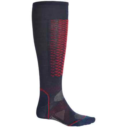 SmartWool Ski Light Socks - Merino Wool, Over the Calf (For Men and Women) in Navy/Red - 2nds