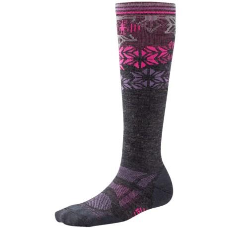 SmartWool Ski Light Socks - Merino Wool, Over the Calf (For Women) in Charcoal/Desert Purple