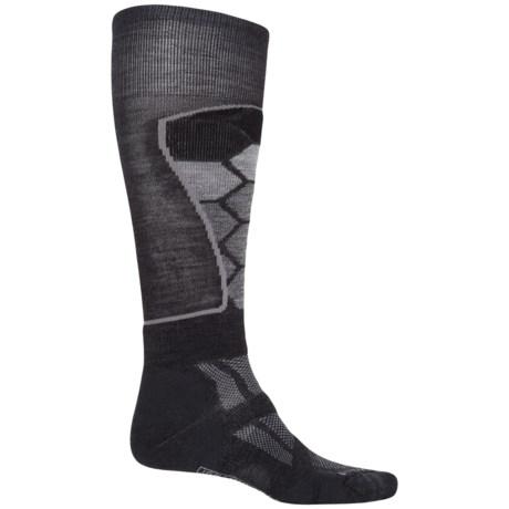 SmartWool Ski Medium Pattern Socks - Merino Wool, Over the Calf (For Men and Women) in Charcoal