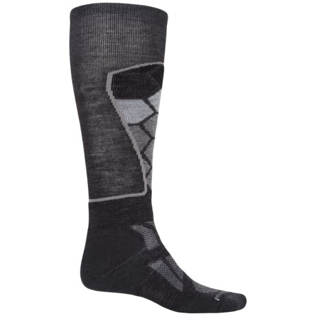 SmartWool Ski Medium Pattern Socks - Merino Wool, Over the Calf (For Men and Women) in Charcoal