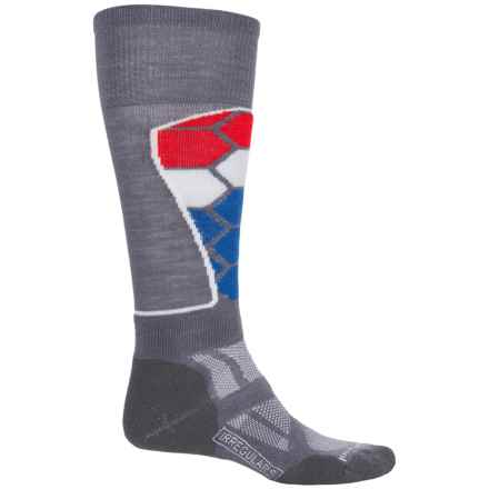 SmartWool Ski Medium Pattern Socks - Merino Wool, Over the Calf (For Men and Women) in Graphite - 2nds
