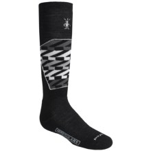 SmartWool Ski Racer Socks - Merino Wool, Midweight, Over the Calf (For Little and Big Kids) in Black/White - 2nds