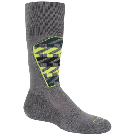SmartWool Ski Racer Socks - Merino Wool, Midweight, Over the Calf (For Little and Big Kids) in Graphite/Smartwool Green