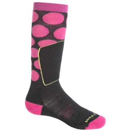 SmartWool Ski Racer Socks - Merino Wool, Over the Calf (For Little and Big Kids) in Black/Bright Pink - 2nds