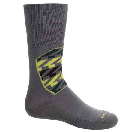 SmartWool Ski Racer Socks - Merino Wool, Over the Calf (For Little and Big Kids) in Graphite/Green - Closeouts