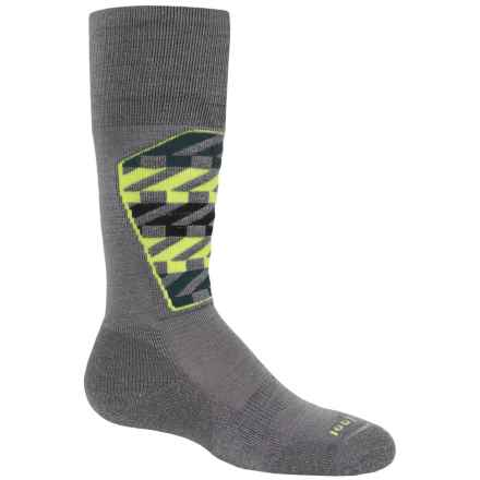 SmartWool Ski Racer Socks - Merino Wool, Over the Calf (For Little and Big Kids) in Graphite/Smartwool Green - 2nds