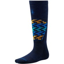 SmartWool Ski Racer Socks - Merino Wool, Over the Calf (For Little and Big Kids) in Navy Racing Stripe - 2nds