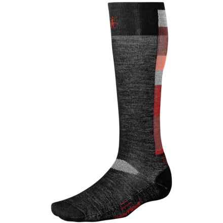 SmartWool Ski Socks - Merino Wool, Light Cushion (For Men and Women) in Black/Crimson - 2nds