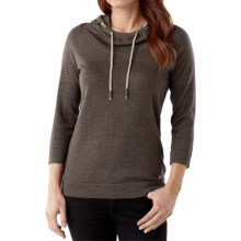 SmartWool Sky Pond Hoodie - Merino Wool, 3/4 Sleeve (For Women) in Taupe Heather - Closeouts