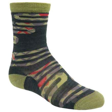 SmartWool Slithering Snakes Socks - Merino Wool, Crew (For Little and Big Boys) in Bottle Green Heather - Closeouts