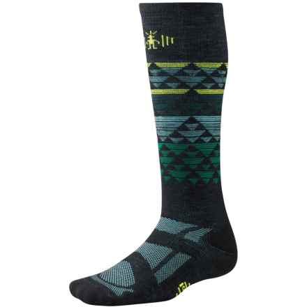 SmartWool Snowboard Ski Socks - Merino Wool, Over the Calf (For Men and Women) in Black/Bottle Green - Closeouts