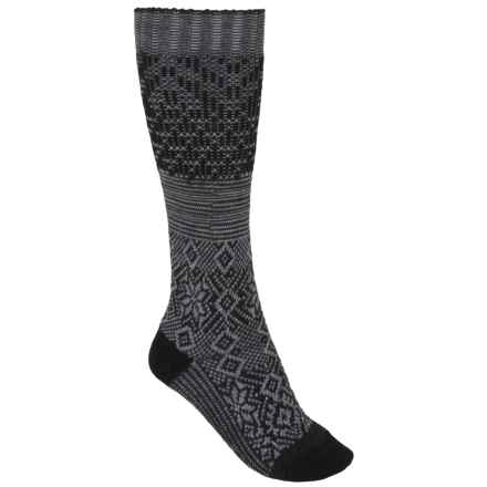 SmartWool Snowflake Flurry Socks - Merino Wool, Over the Calf (For Women) in Charcoal Heather - 2nds