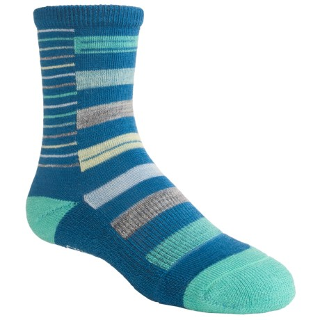 SmartWool Split Stripe Socks - Merino Wool, Crew (For Girls) in Arctic Blue
