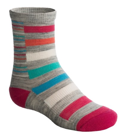 SmartWool Split Stripe Socks - Merino Wool, Crew (For Girls) in Ash Heather