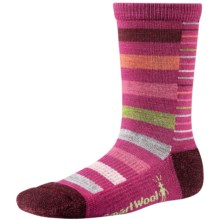 SmartWool Split Stripe Socks - Merino Wool, Crew (For Girls) in Berry - 2nds