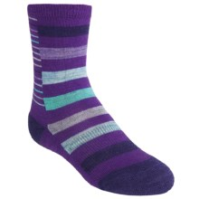 SmartWool Split Stripe Socks - Merino Wool, Crew (For Girls) in Grape - Closeouts