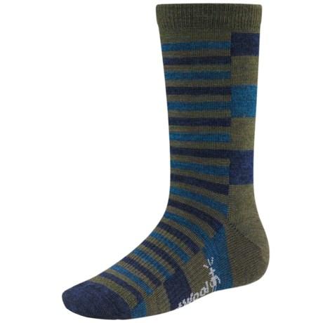 SmartWool Split Stripe Socks - Merino Wool, Crew (For Kids and Youth) in Loden Heather